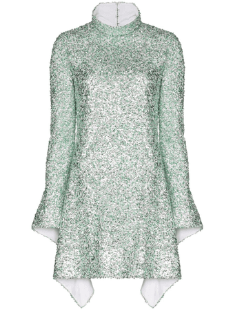 Halpern Sequin Embroidered Mini Dress In Green