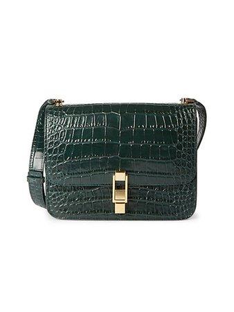 Saint Laurent Carre Croc-Embossed Leather Shoulder Bag   SaksFifthAvenue