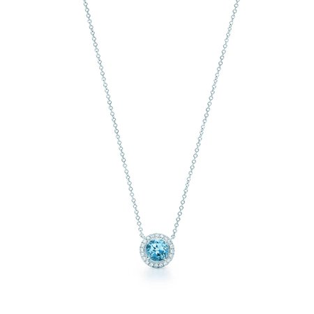 Tiffany Soleste® pendant in platinum with an aquamarine.   Tiffany & Co.