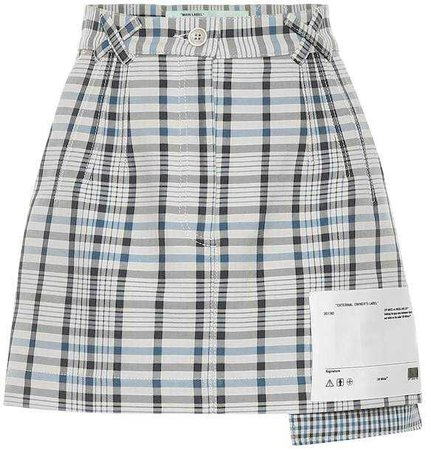 Off White Checked cotton and silk miniskirt