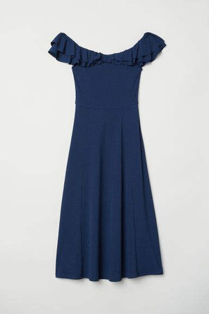 Off-the-shoulder Dress - Blue