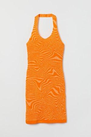 Fine-knit halterneck dress - Orange/Patterned - Ladies   H&M GB