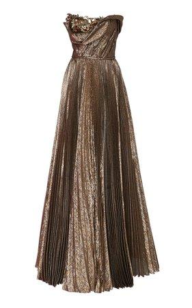Oscar de la Renta Floral Embellished Strapless Gown