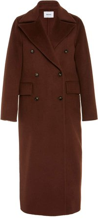 Nanushka Lana Double-Breasted Wool-Silk Coat