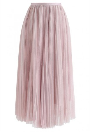 Glittering Mesh Pleated Midi Skirt in Pink - NEW ARRIVALS - Retro, Indie and Unique Fashion
