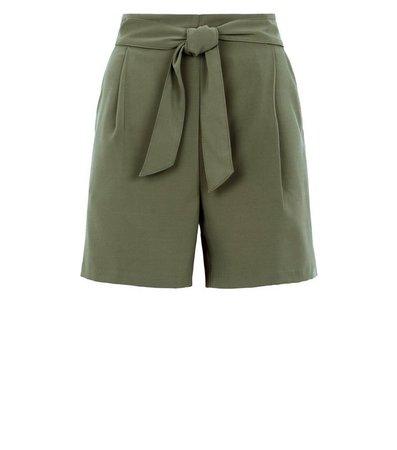 Khaki Belted High Waist Shorts | New Look