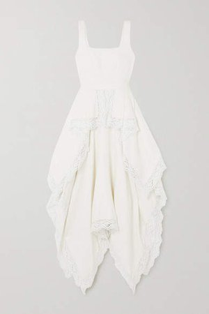 Asymmetric Crocheted Lace-trimmed Linen Floral-jacquard Dress - Ivory
