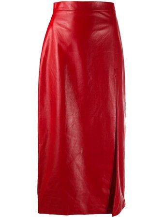 Gucci slit-detail Leather midi-skirt - Farfetch