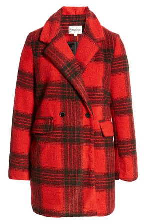 Vigoss Double Breasted Plaid Coat