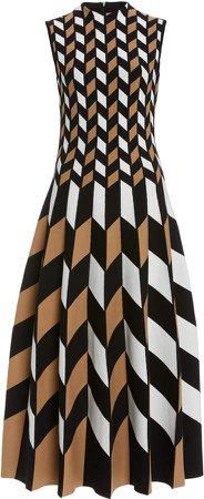 Oscar de la Renta Sleeveless Knit Midi Dress