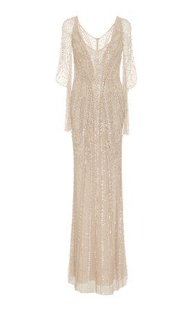 Jenny Packham- Constance Embellished Long Sleeve Gown
