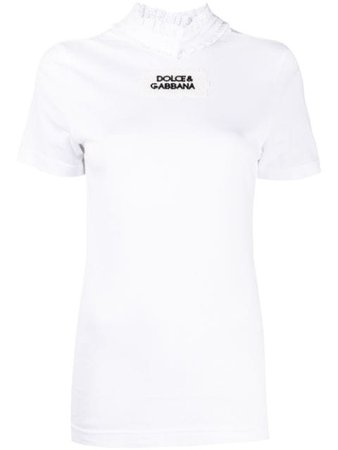 Dolce & Gabbana ruffle-neck logo T-shirt with Express Delivery - Farfetch
