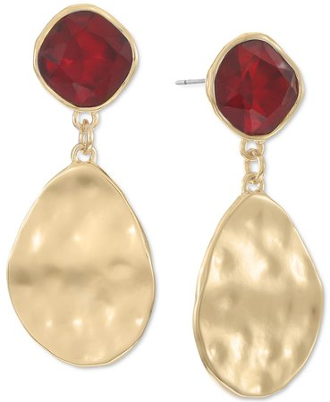 Style & Co Gold-Tone Stone & Hammered Disk Drop Earrings, Created for Macy's & Reviews - Earrings - Jewelry & Watches - Macy's