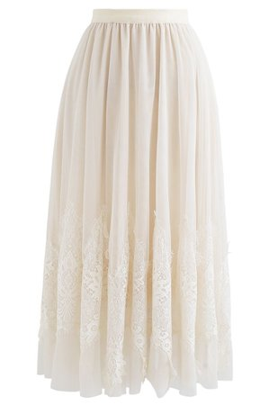 Tassel Lace Double-Layered Tulle Mesh Skirt in Cream - Retro, Indie and Unique Fashion