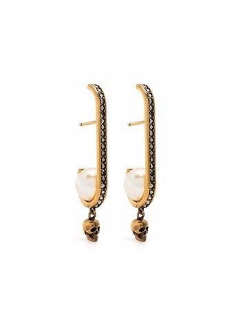 Alexander McQueen rhinestone-embellished Skull Earrings - Farfetch