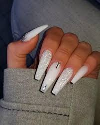 white acrylic nails with diamonds - Google Search