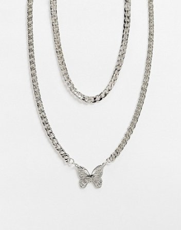 ASOS DESIGN short midweight layered neckchain with butterfly pendant in silver tone | ASOS