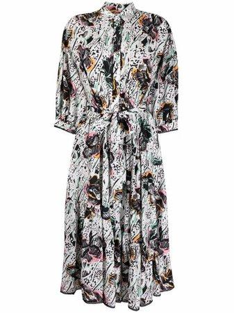 DVF Diane Von Furstenberg abstract-floral Shirt Dress - Farfetch