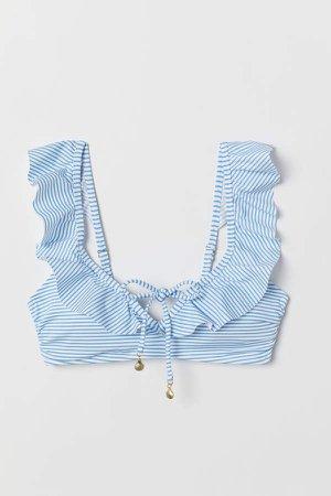 Padded Bikini Top with Flounce - Blue