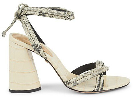 Gemma Ankle-Wrap Embossed Leather Sandals