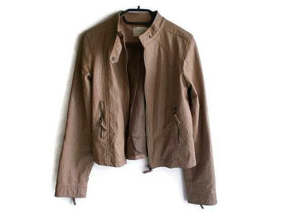 Vintage Leather Jacket faux leather jacket brown leather