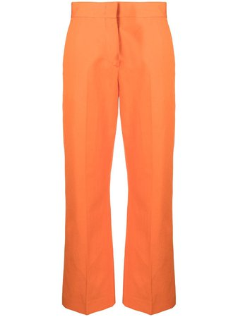 Shop orange MSGM cropped cotton-linen blend trousers with Express Delivery - Farfetch
