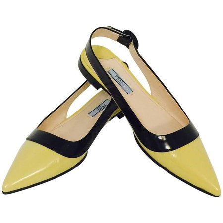 Prada Black and Lemon Color Blocked Patent Low Heel Pointed Toe Sling Backs