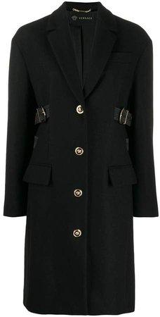 buckle embellished single-breasted coat