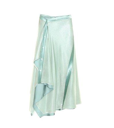 Mallory asymmetric silk-blend skirt