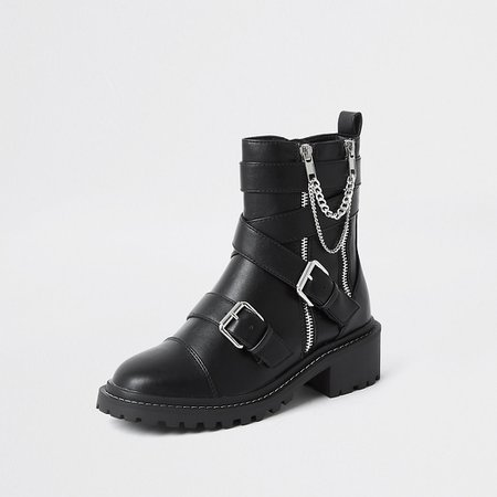 Black faux leather chain buckle boots | River Island