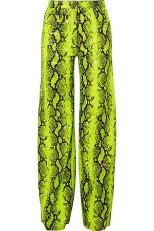 Off-White   Neon snake-effect leather straight-leg pants   NET-A-PORTER.COM