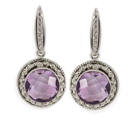 Minerva Amethyst Tondo Earrings | Vintouch Italy | Wolf & Badger