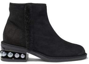 Casati Shearling-trimmed Embellished Suede Ankle Boots