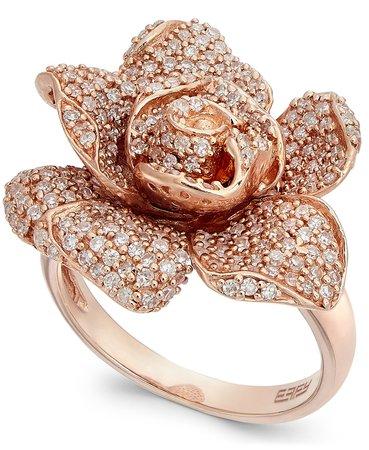 EFFY 14k Rose Gold Pave Diamond Rose Ring