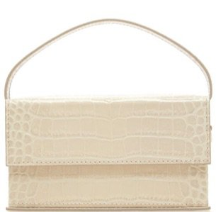 L'AFSHAR Natural Croc Box Handbag