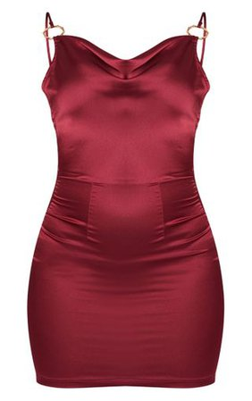 Burgundy Satin Cowl Neck Bodycon Dress | PrettyLittleThing