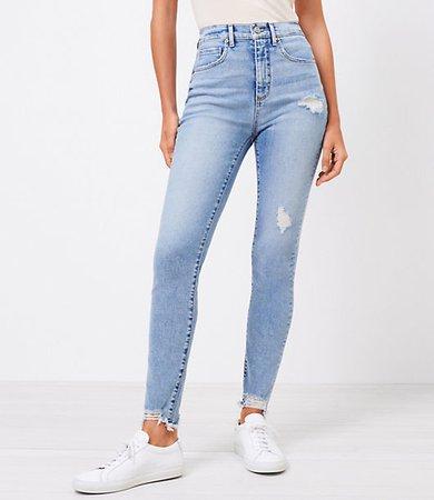 The Chewed Hem High Waist Skinny Jean in Pure Light Indigo Wash