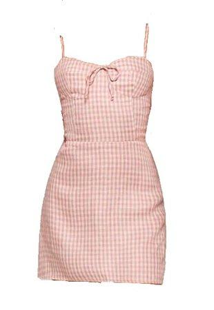 pink cami plaid dress
