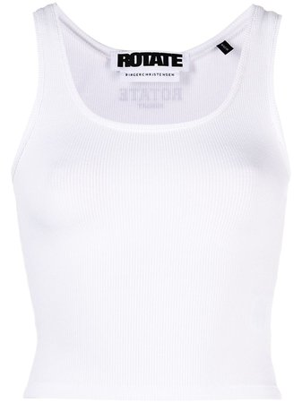 Shop white ROTATE Blomma cropped tank top with Express Delivery - Farfetch