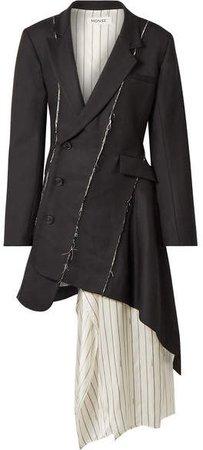 Draped Satin-trimmed Wool-blend Twill Mini Dress - Black