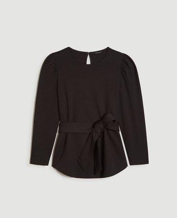 Tie Waist Puff Shoulder Top | Ann Taylor