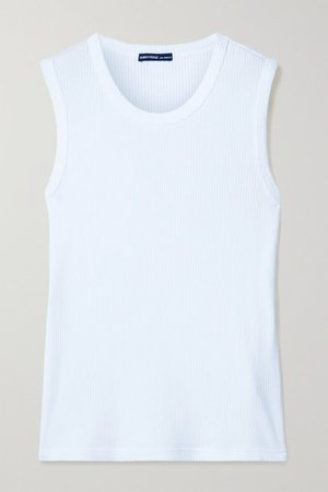 Ribbed Cotton-blend Jersey Tank - White