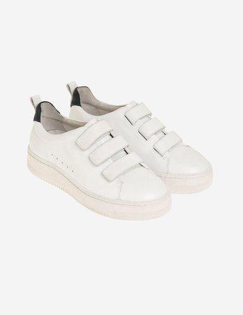 Leather Velcro sneakers - Sneakers | Sandro Paris