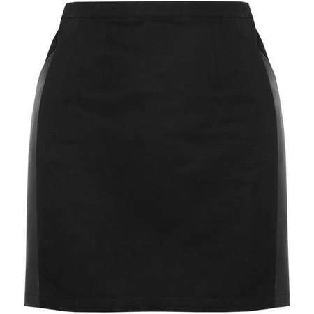 Karl Cotton and faux leather mini skirt