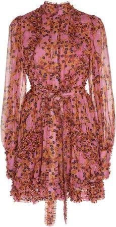 Karina Belted Georgette Mini Dress