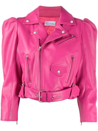 Red Valentino puff-sleeve leather jacket