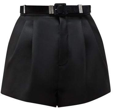 Tailored High Rise Wool Twill Shorts - Womens - Black