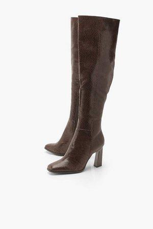 Snake Interest Heel Over The Knee Boots | Boohoo