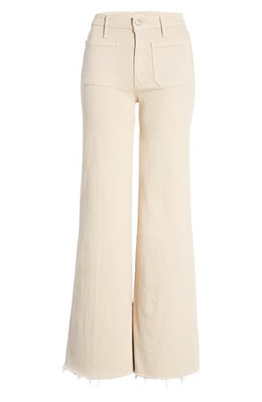MOTHER The Patch Pocket Roller High Waist Fray Hem Wide Leg Khaki Pants | Nordstrom