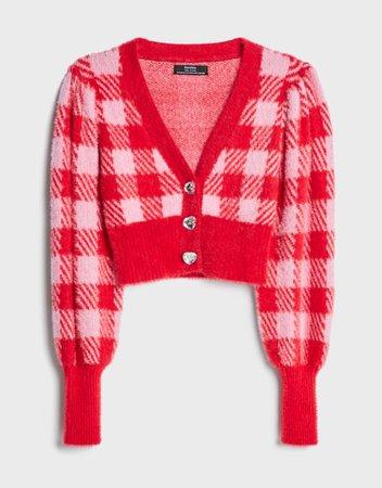 Fuzzy cardigan - Sweaters and Cardigans - Woman | Bershka